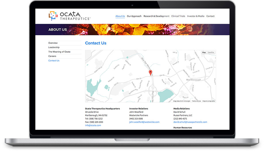 Ocata Therapeutics website contact page