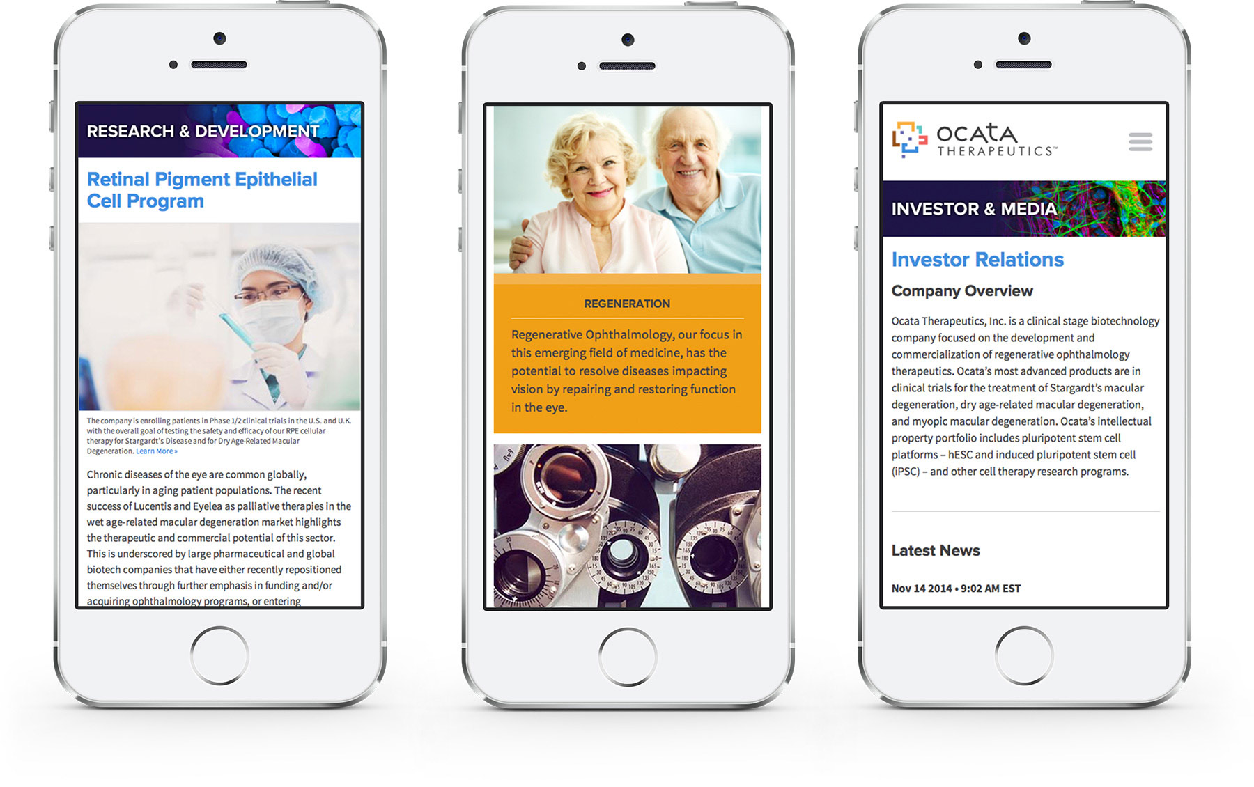 Ocata Therapeutics mobile friendly website