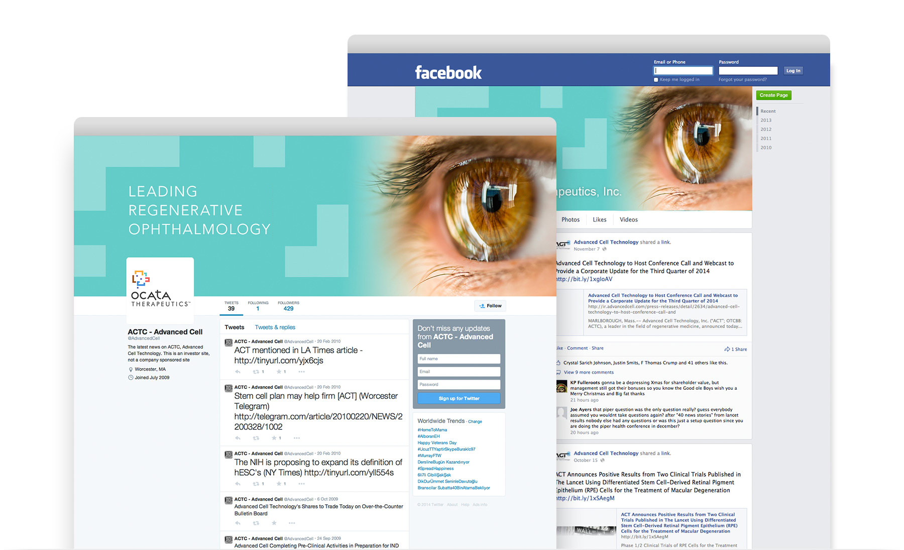 Ocata Therapeutics social media design