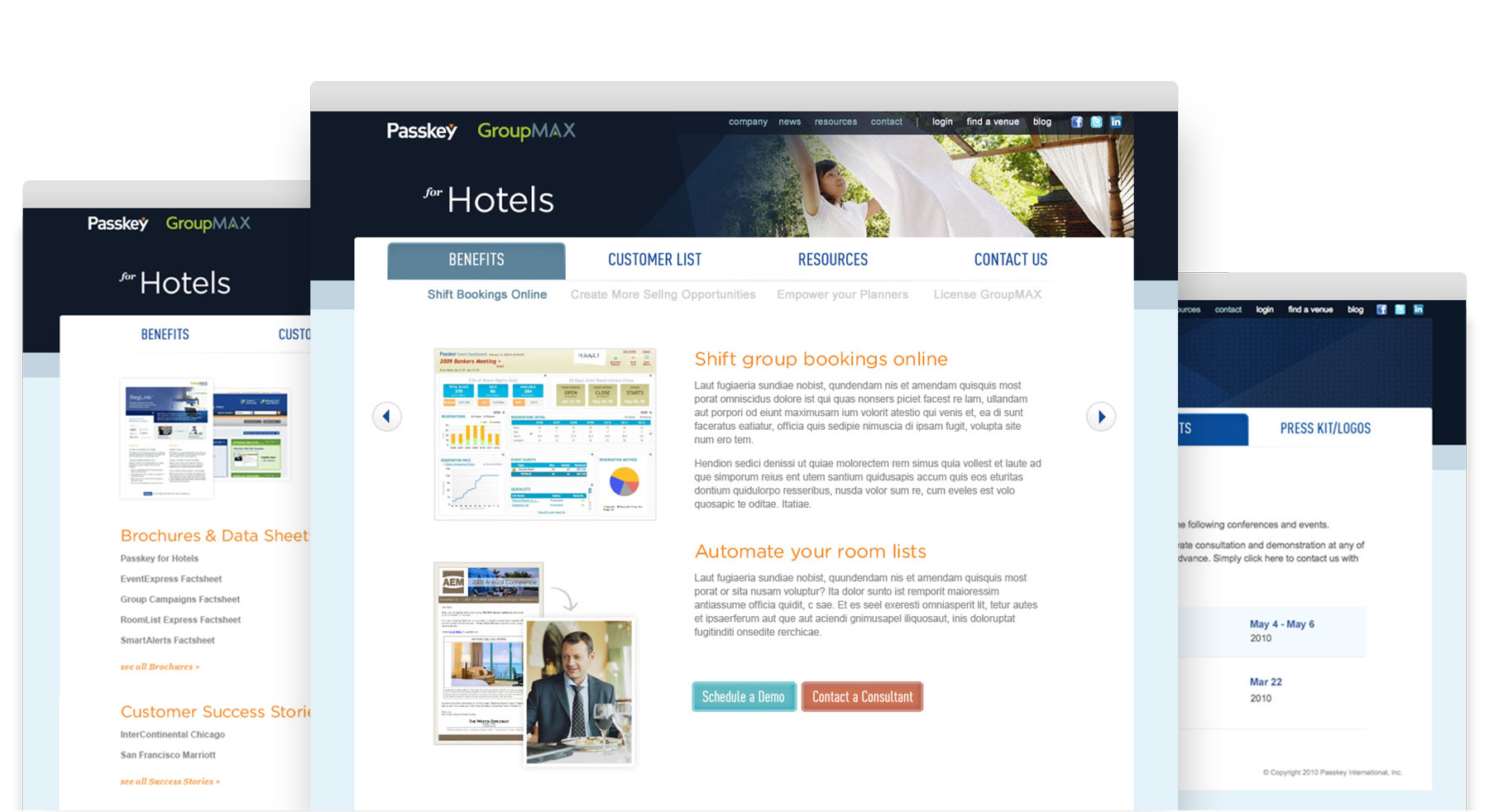 Passkey website interior pages
