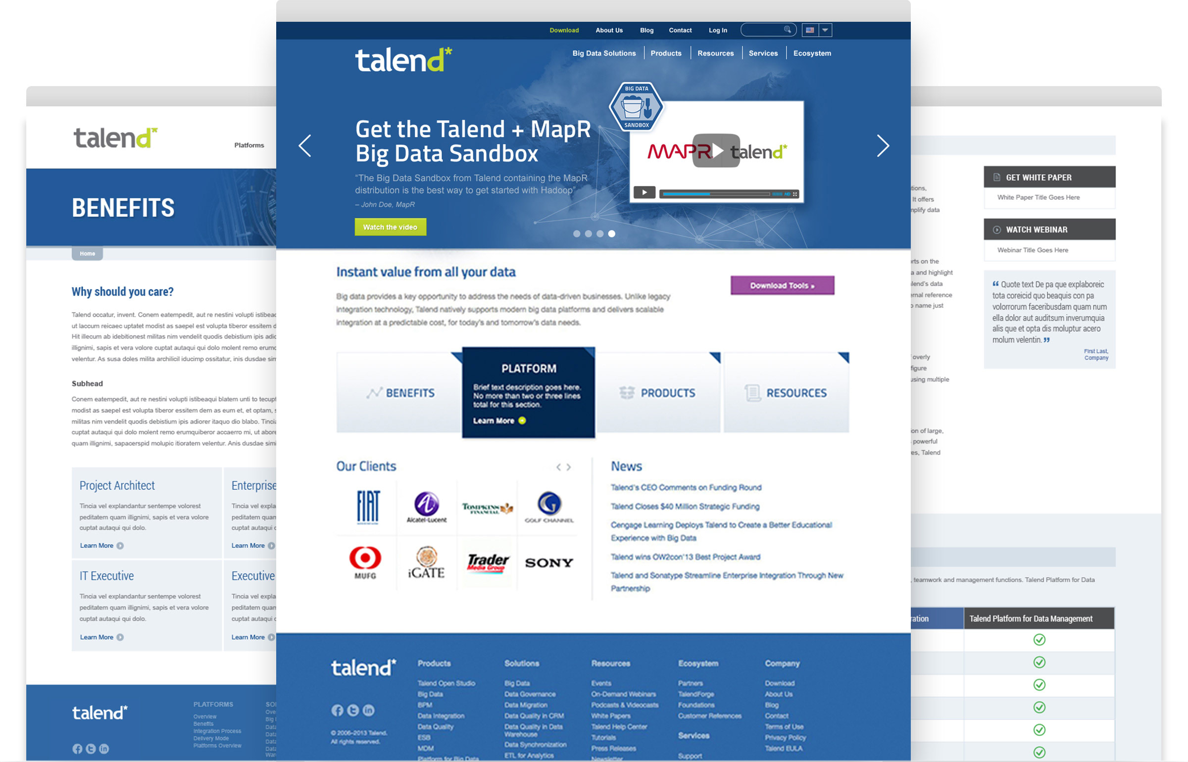 Talend website interior pages
