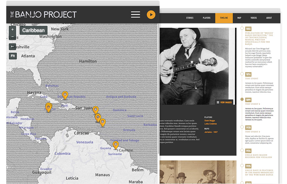 The Banjo Project website interior pages