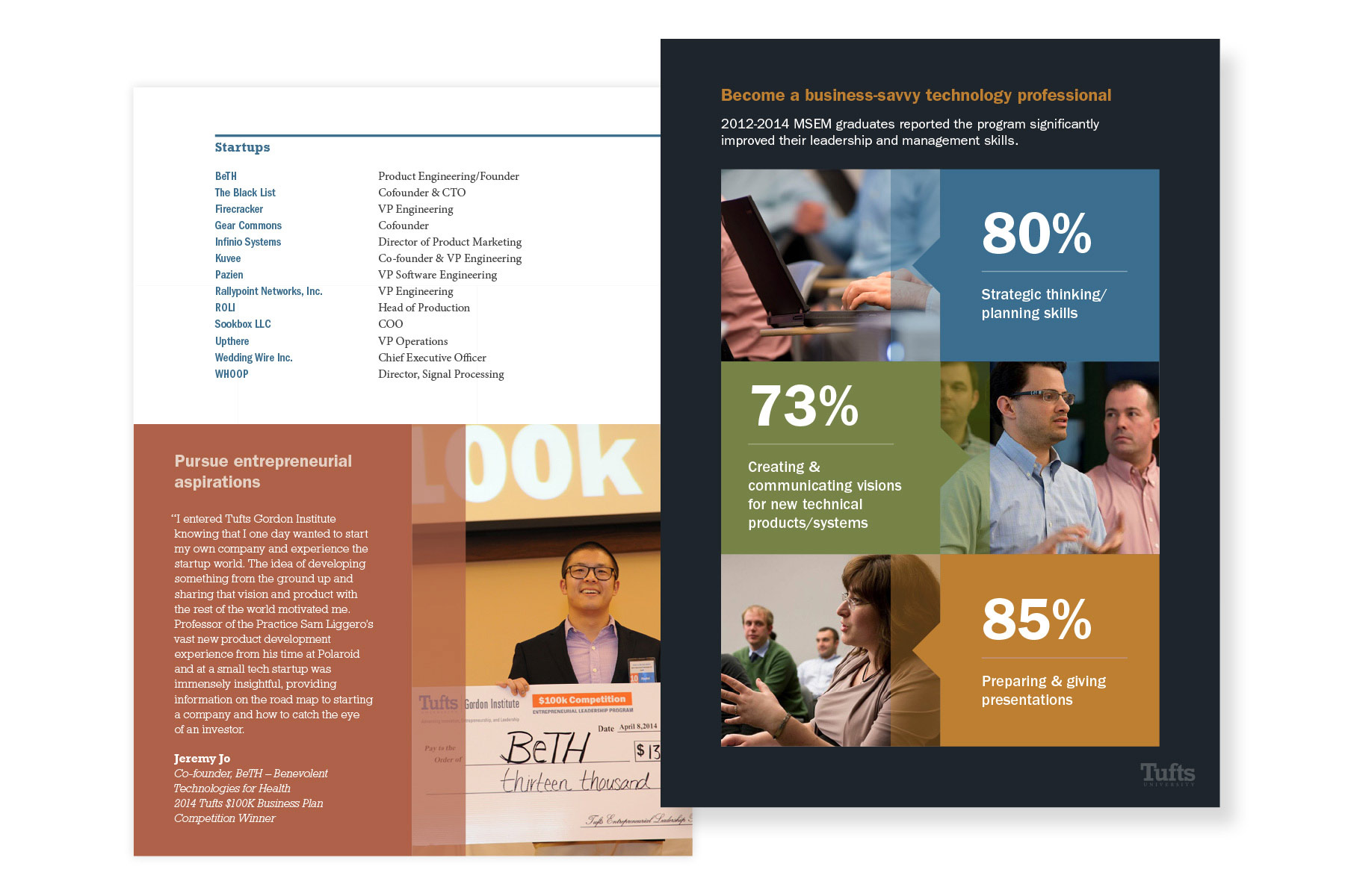Tufts University Tufts Career Impact brochure interior pages