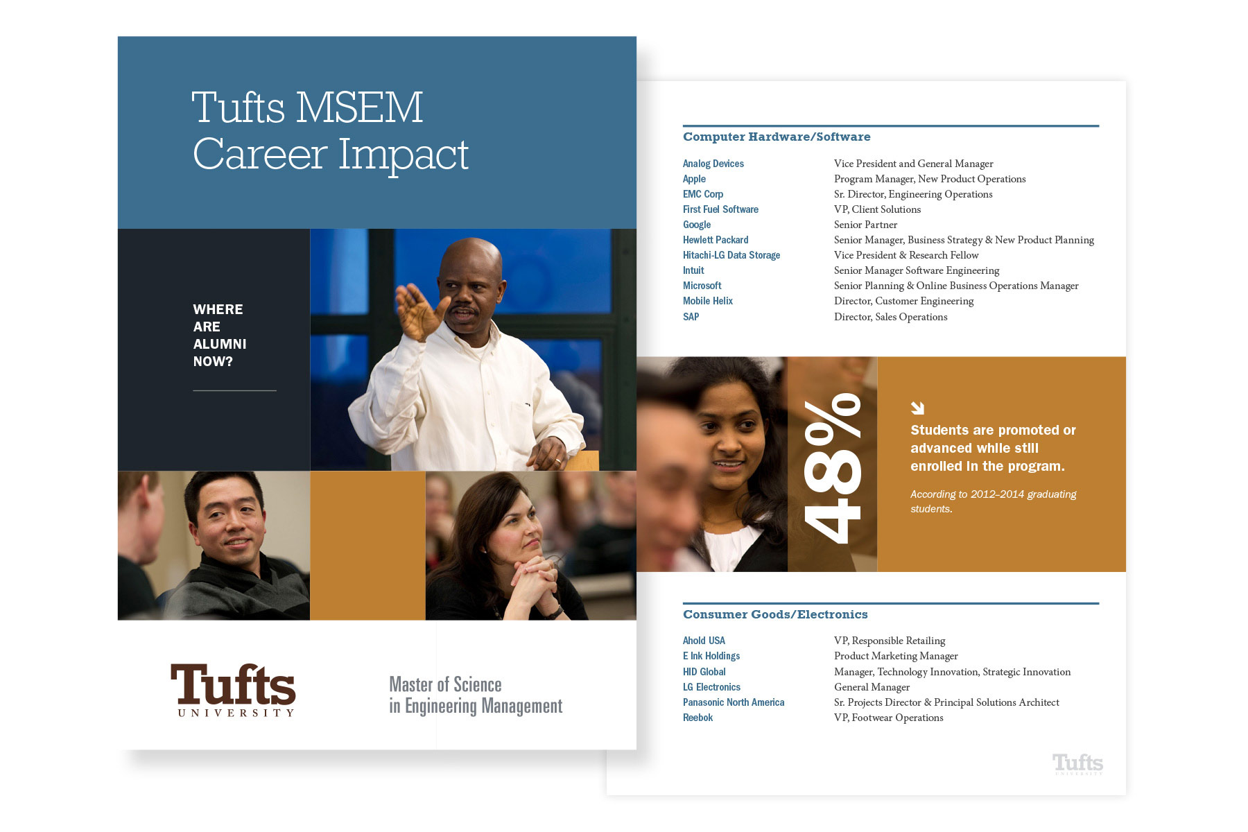 Tufts University Tufts Career Impact brochure spread